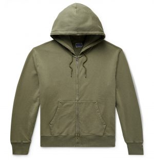 J.Crew - Garment-Dyed Loopback Cotton-Jersey Zip-Up Hoodie - Men - Green