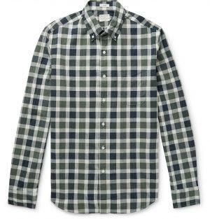 J.Crew - Secret Wash Button-Down Collar Gingham Stretch-Organic Cotton Shirt - Men - Green