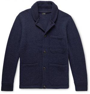 J.Crew - Shawl-Collar Brushed-Wool Cardigan - Men - Blue