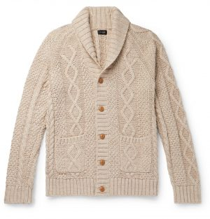 J.Crew - Shawl-Collar Cable-Knit Cotton Cardigan - Men - Brown