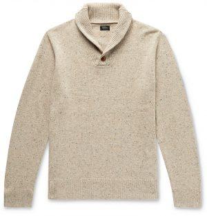 J.Crew - Shawl-Collar Mélange Merino Wool-Blend Sweater - Men - Neutrals