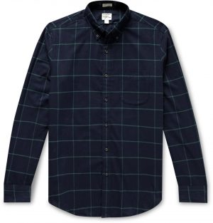 J.Crew - Slim-Fit Button-Down Collar Checked Cotton-Flannel Shirt - Men - Blue