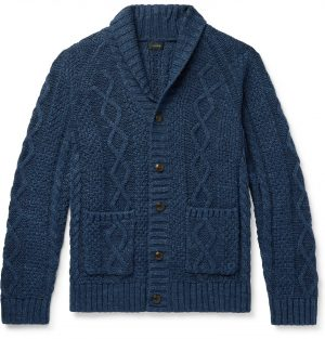 J.Crew - Slim-Fit Shawl-Collar Mélange Cable-Knit Cotton Cardigan - Men - Blue