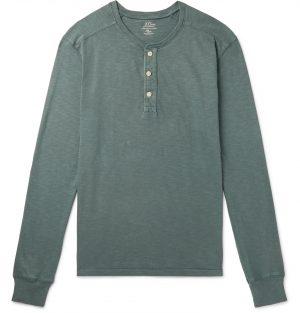 J.Crew - Slub Cotton-Jersey Henley T-Shirt - Men - Green