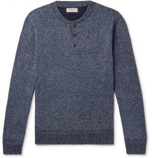 J.Crew - Wallace & Barnes Mélange Silk and Cotton-Blend Henley Sweater - Men - Blue