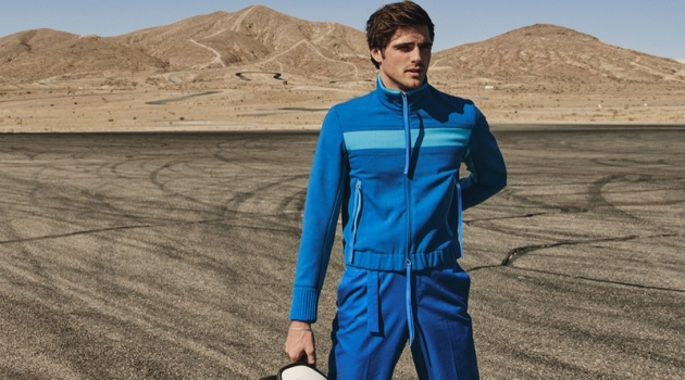 Going sporty, Jacob Elordi wears a track jacket and pants by BOSS Hugo Boss for VMAN.