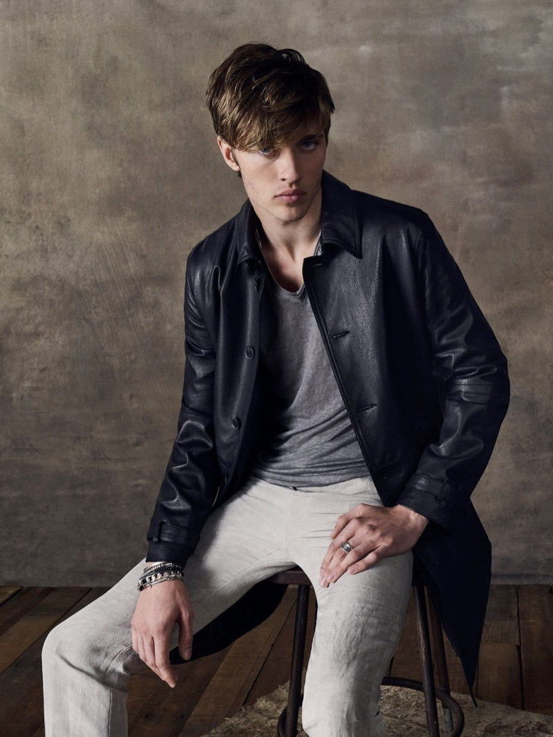 Reuniting with John Varvatos for its spring-summer 2020 campaign, Lucky Blue Smith models a leather jacket.