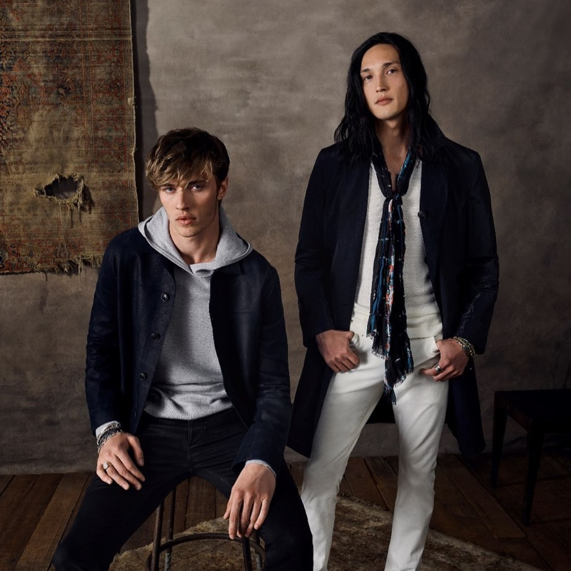 Models Lucky Blue Smith and Joshua Smoot front John Varvatos' spring-summer 2020 campaign.