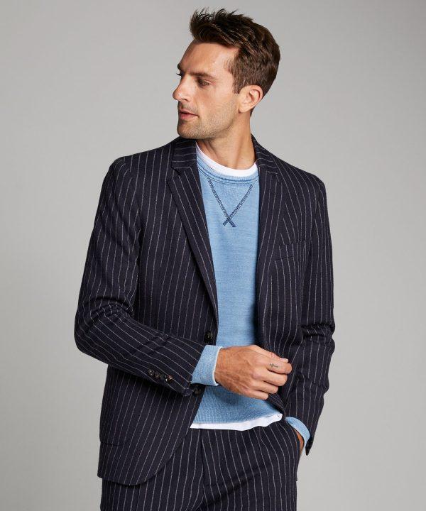 Knit Traveler Suit Jacket in Navy Pinstripe