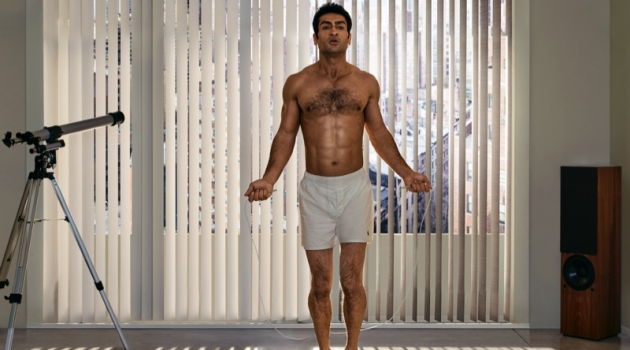 It's time for a workout as Kumail Nanjiani finds his inner Christian Bale to recreate a scene from American Psycho. For the Men's Health outing, Nanjiani wears POLO Ralph Lauren boxers with Adidas Originals sneakers.