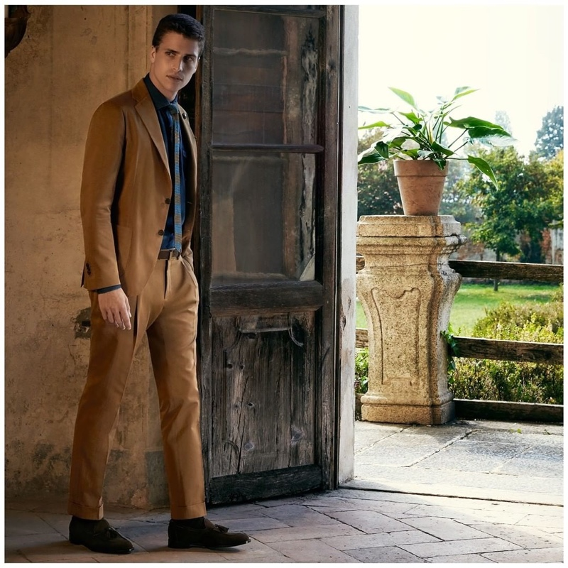 Or Boker dons a tan suit for Lardini's spring-summer 2020 campaign.