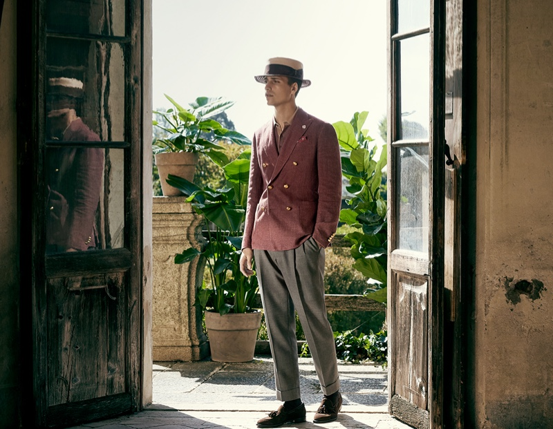 Embracing dandy style, Or Boker fronts Lardini's spring-summer 2020 campaign.
