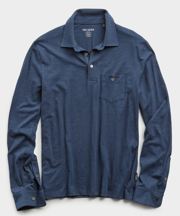 Made In L.A. Slub Jersey Long Sleeve Polo in Navy