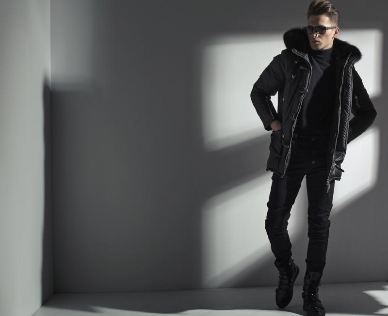Male Model Black Winter Outfit Jacket Pants