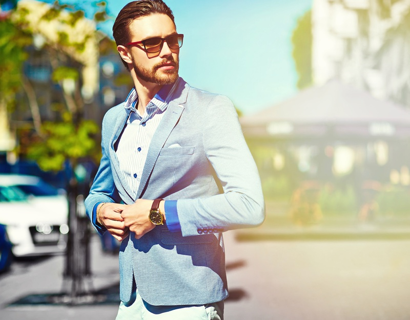 Male Model Outdoors Summer Fashion Blazer Sunglasses