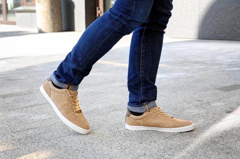 Man Beige Brown Sneakers Jeans