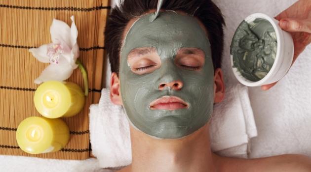 Man Green Face Mask Beauty Treatment