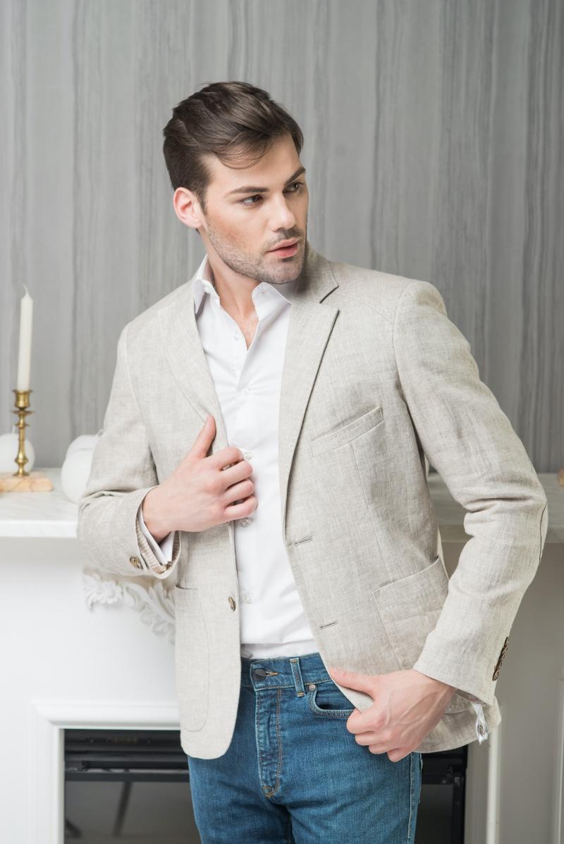 Man Linen Jacket