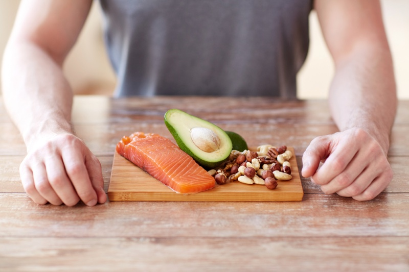 Man Salmon Fish Avocado Nuts Healthy Food