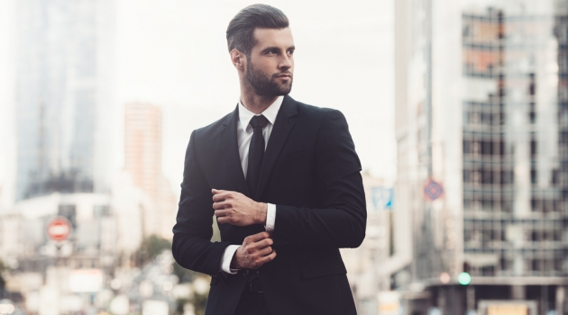 Man in Sharp Suit City Background
