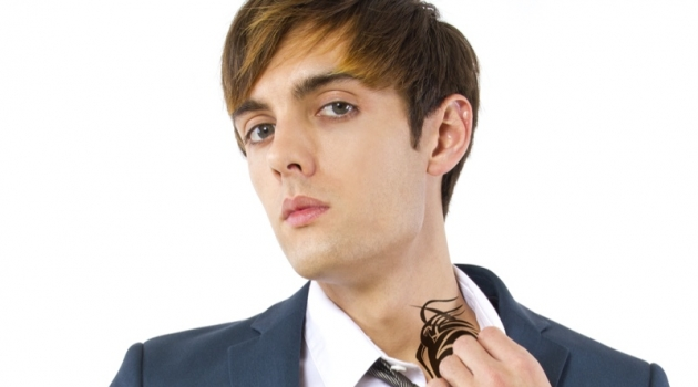 Man in Suit with Neck Tattoo Closeup