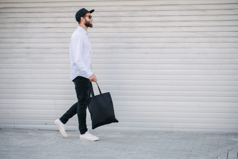 Man with Tote Bag