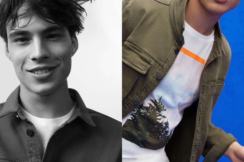 All smiles, Louis Baines appears in Marc O'Polo's spring-summer 2020 denim campaign.