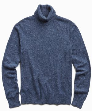 Marled Cashmere Turtleneck in Navy