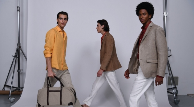 Models Parker van Noord, Liam Kelly, and Rafael Mieses don looks from Massimo Dutti's spring-summer 2020 Limited Edition collection.