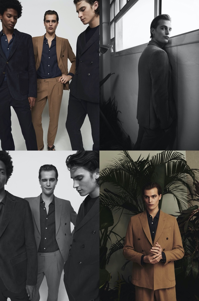 Massimo Dutti enlists models Rafael Mieses, Parker van Noord, and Liam Kelly to showcase tailored looks from its spring-summer 2020 Limited Edition collection.