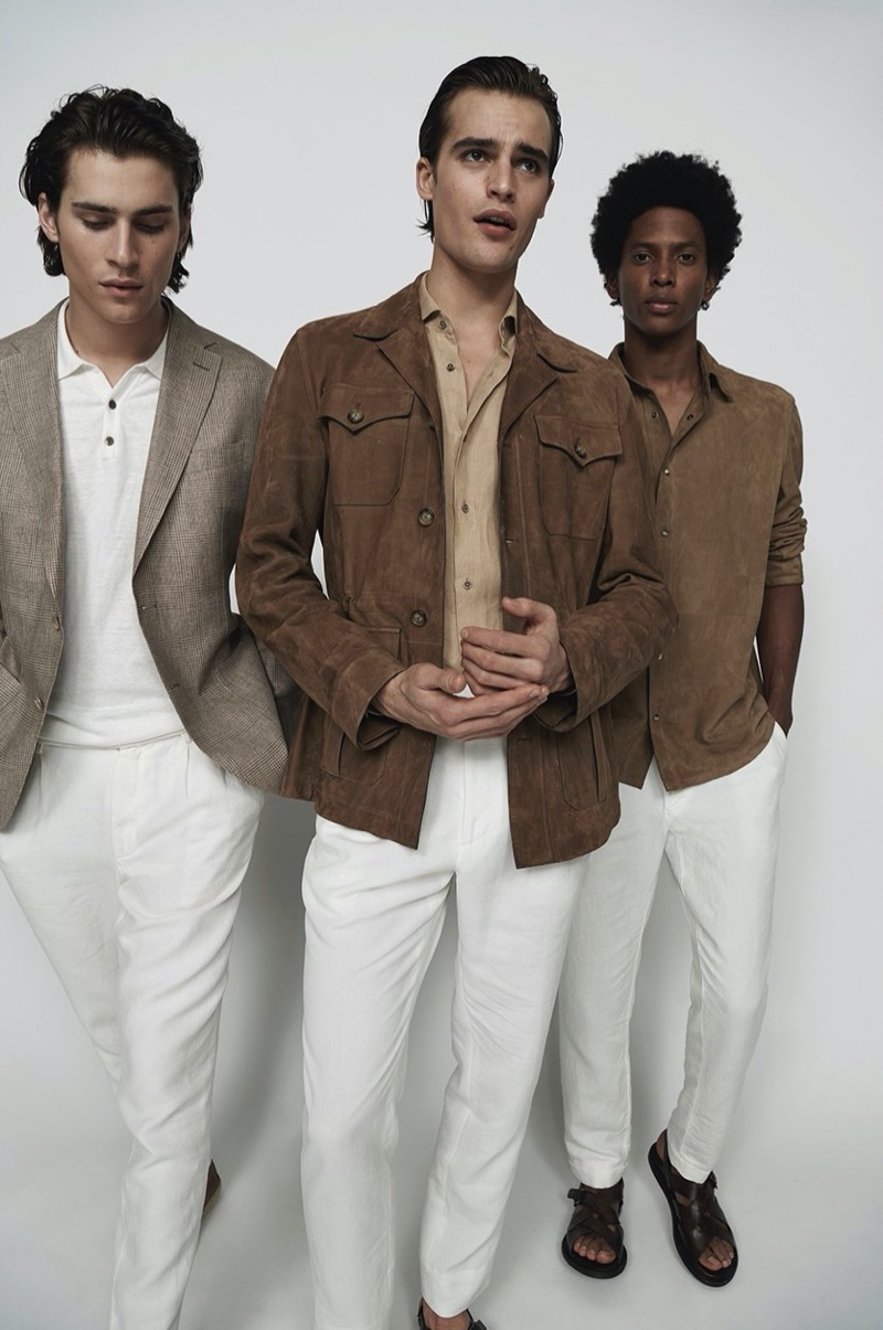 Liam Little, Parker van Noord, and Rafael Mieses embrace sleek menswear style in pieces from Massimo Dutti's spring-summer 2020 Limited Edition collection.