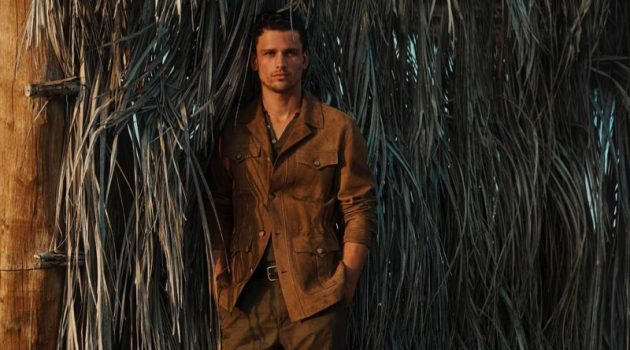 Simon Nessman dons a brown suede shirt jacket for Massimo Dutti's spring-summer 2020 campaign.