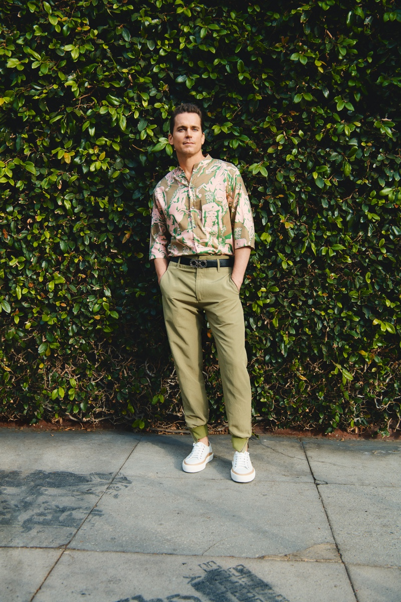 Embracing spring 2020 style, Matt Bomer wears Salvatore Ferragamo for Neiman Marcus' spring 2020 men's campaign.
