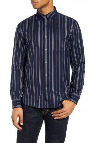 Men's Club Monaco Alternating Stripe Button-Down Shirt, Size Small - Blue