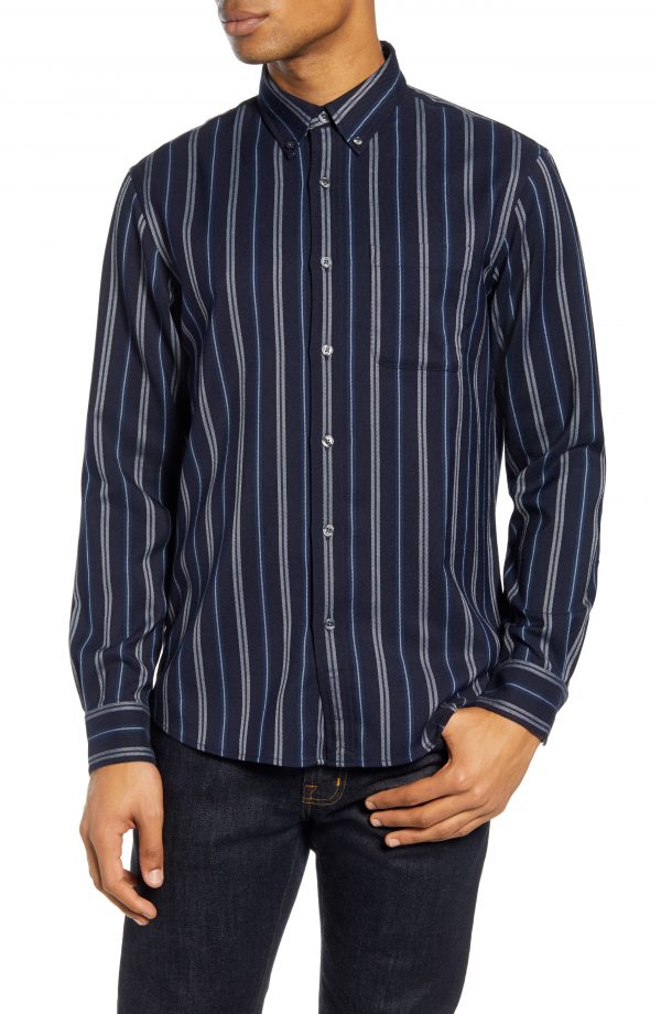 Men's Club Monaco Alternating Stripe Button-Down Shirt, Size Small - Blue