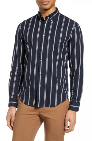 Men's Club Monaco Chelsea Slim Fit Stripe Button-Down Shirt, Size X-Small - Blue