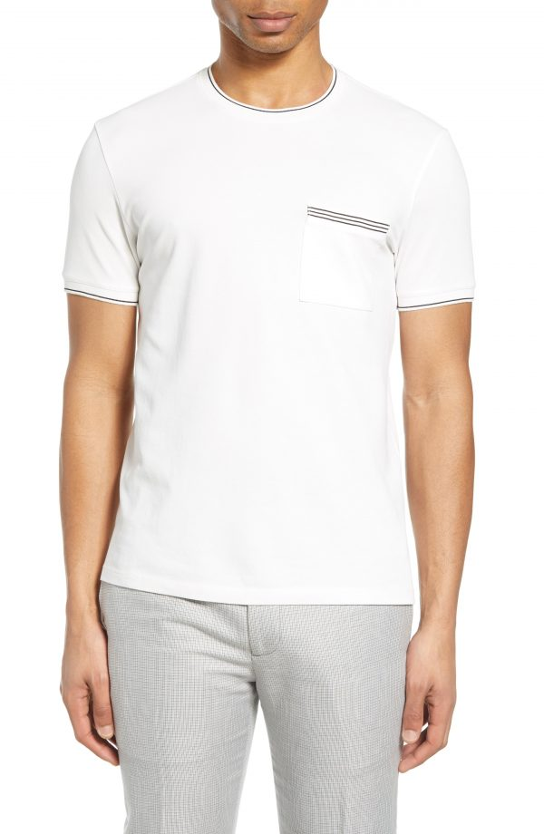 Men's Club Monaco Crewneck Pocket T-Shirt, Size X-Small - White