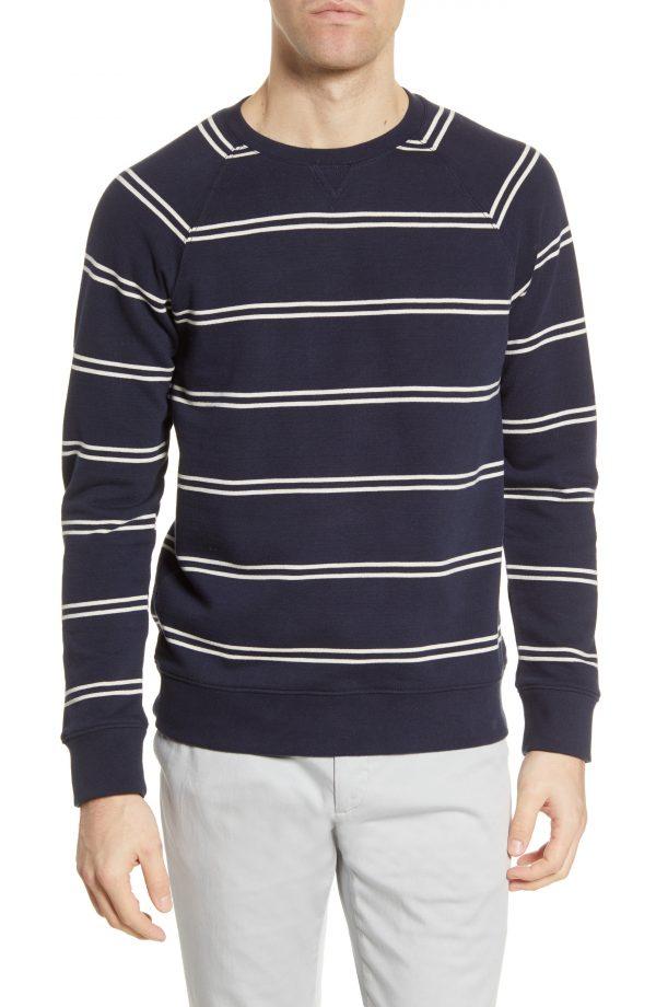 Men's Club Monaco Double Stripe Sweatshirt, Size Small - Blue