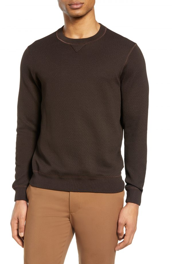 Men's Club Monaco Feel Good Sweatshirt, Size Small - Brown