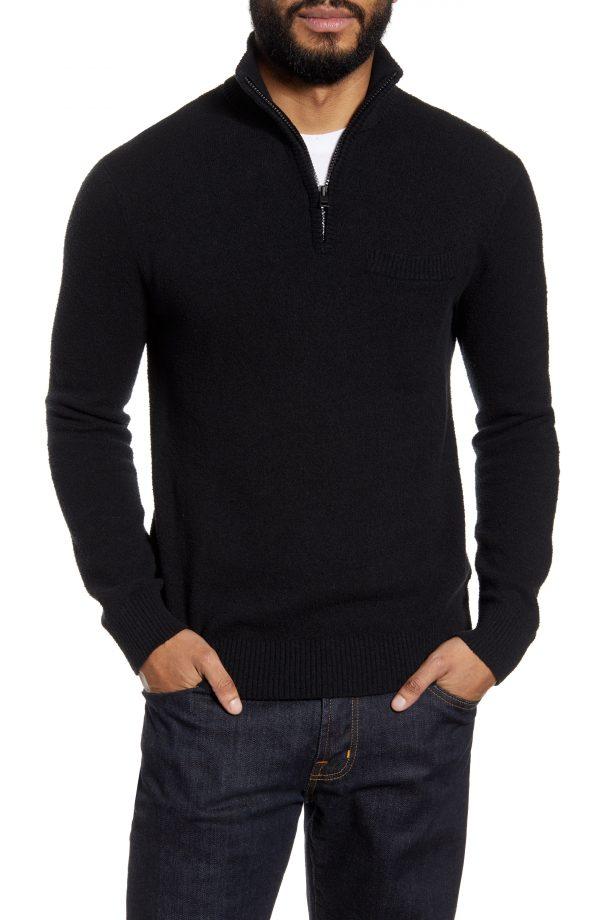 Men's Club Monaco Quarter Zip Boucle Sweater, Size X-Small - Black