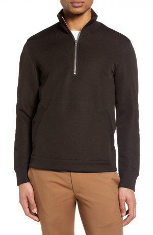 Men's Club Monaco Quarter Zip Pullover, Size X-Small - Brown