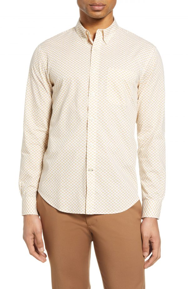 Men's Club Monaco Slim Fit Honeycomb Print Button-Down Shirt, Size Small - White