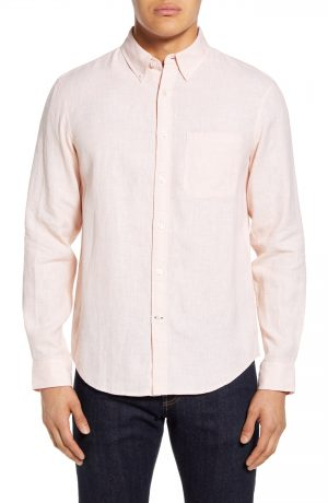 Men's Club Monaco Slim Fit Jaspe Linen Button-Down Shirt, Size X-Small - Pink