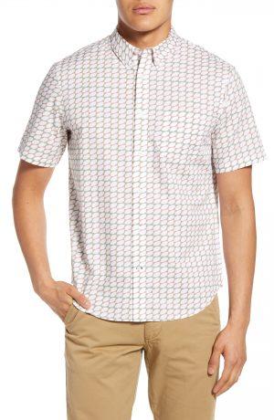Men's Club Monaco Slim Fit Lemon Geo Short Sleeve Button-Down Shirt