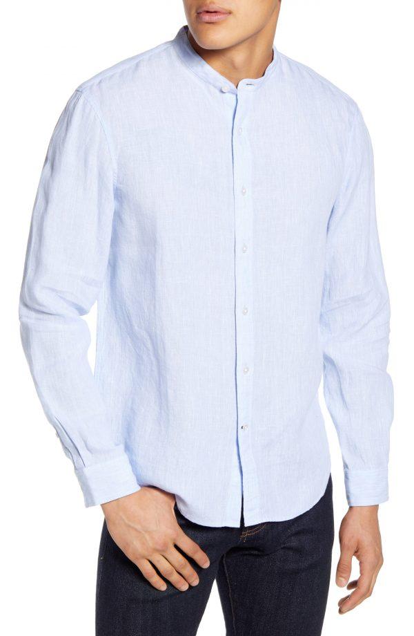 Men's Club Monaco Slim Fit Linen Button-Up Shirt, Size X-Small - Blue