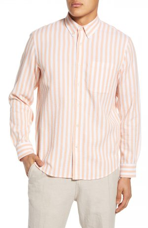 Men's Club Monaco Slim Fit Waffle Stripe Button-Down Shirt, Size Small - Orange