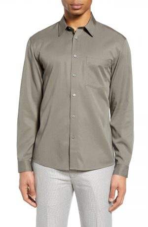 Men's Club Monaco Solid Button-Up Shirt, Size Small - Grey