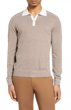 Men's Club Monaco Stripe Long Sleeve Polo, Size Small - Brown