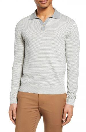 Men's Club Monaco Stripe Long Sleeve Polo, Size Small - White