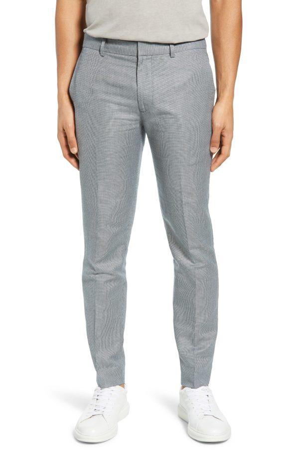Men's Club Monaco Sutton Micro Check Pants, Size 29 - Blue